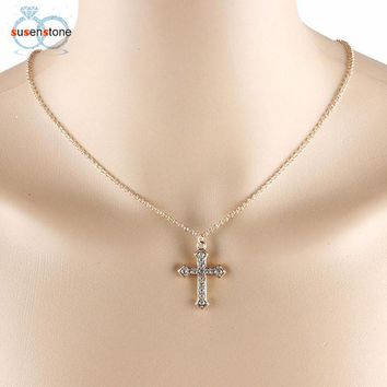 SUSENSTONE Women Girl Rhinestone Cross Pendant Alloy Necklace Clavicle Chain