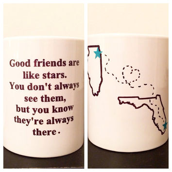 15 oz friendship mug long distance coffee mug large coffee mug custom friendship mug