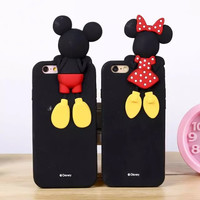 Lovely Cute 3D Cartoon Smiling face Mickey Mouse Minnie Duck Stitch Soft Silicone Rubber Cover Case For iPhone 5S 5C phone Case
