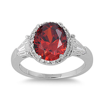 925 Sterling Silver CZ Embraced Oval Simulated Garnet Ring 11MM