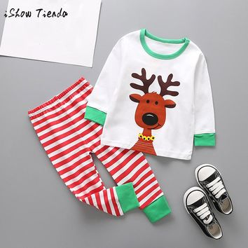 Toddler Kids Baby Girl Boy Unisex Winter Christmas suit Deer print Outfits Clothes long sleeve T-shirt Top+Pant Set home costume