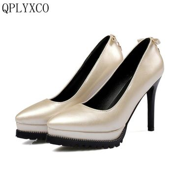 QPLYXCO 2017 New Big samll 32-48 Genuine Leather Women pointed toe high hell Platform party wedding High quality shoes 577-3