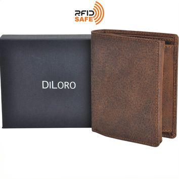 DiLoro Men's Vertical Leather Bifold Flip ID Zip Coin Wallet RFID Save