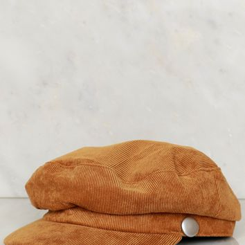 Corduroy Cabby Hat Camel