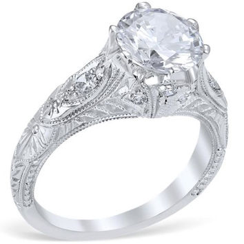 "Whitehouse Brothers ""Venetian Crown"" Vintage Style Diamond Engagement Ring"