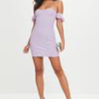 Missguided - Lilac Fluffly Strap Mini Dress