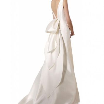 Gorgeous Bridal Women's Backless A-Line Long Satin Gown