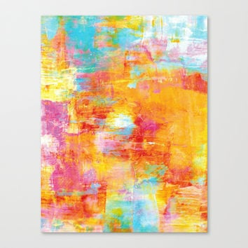 OFF THE GRID Colorful Pastel Neon Abstract Watercolor Acrylic Textural Art Painting Nature Rainbow  Stretched Canvas by EbiEmporium