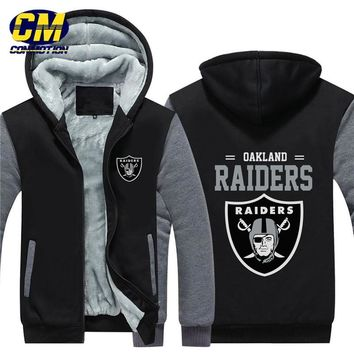 NFL American football winter thicken plus velvet zipper coat hooded sweatshirt casual jacket Oakland Raiders