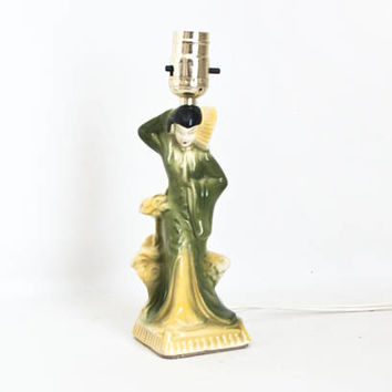 Vintage Ceramic Asian Woman Figural Lamp Bedside Light, Green Yellow 1950s Chinoiserie Decor (Rewired, Works)