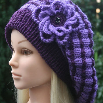 Purple Beret with crocheted flower Knit hat Women's hat Winter hat Beret with removable flower Beanie hat READY TO SHIP  Womens Accessories