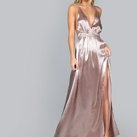 Cross Back High Split Satin Maxi Slip Dress