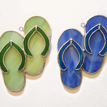 Stained Glass Flip-Flops / Sandals Suncatcher