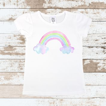 Rainbow on White T Shirt | Rainbow White on T Shirt  for Toddlers | Rainbow Outfit for Girls