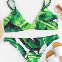 Tropical Print Bikini Set