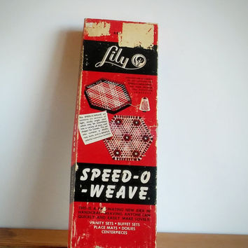 Lily Speed-O-Weave Adjustable Looms - Square and Hex - Vintage Weaving Loom Toy- 1964