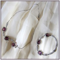 Victorian Sterling Filigree Granulated Emerald Cut Amethyst Crystal Necklace with Matching Bracelet