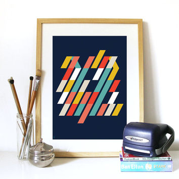 Mid Century Pattern Summer Glory #3 inspired in Scandinavian patterns and colors combinations multidimensional pattern optic illusion Poster