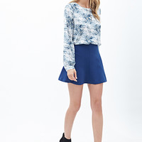 LOVE 21 Abstract Print Woven Blouse Ivory/Blue