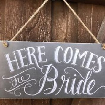 Here Comes The Bride Sign Wooden MDF Jute Rope Hanger Chalk WEDDING Decor