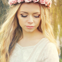 Blush Pink Rose Flower Crown - Statement piece - Festival Wear - flower halo, headband, bridal, wedding, floral, baby pink, powder pink