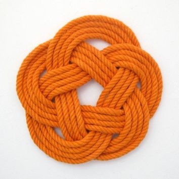 Sailor Knot Coasters, woven in Orange Cotton , Set of 4