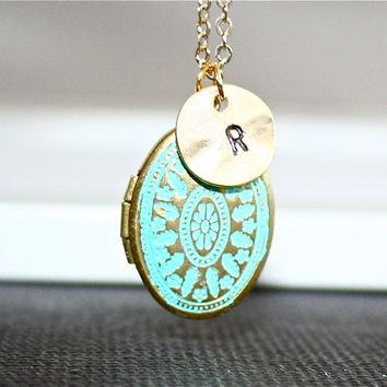 Personalized Locket  Necklace, Gold Patina Locket, Custom Initial Locket Necklace, Blue Locket, Monogram Necklace, Gold Filled