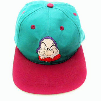 Vintage Grumpy Snow White and the Seven Dwarfs Disney Snapback Hat