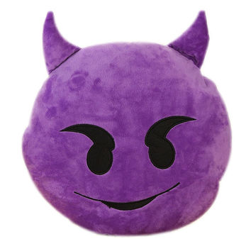 EMOJI PILLOW PURPLE DEVIL