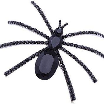 Alilang Large Jet Black Crystal Rhinestone Widow Spider Insect Bug Fashionable Pin Brooch