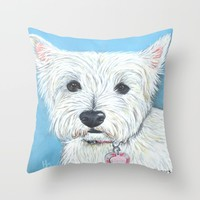 Annabell the sweet little West Highland Terrier Throw Pillow by Heathercarey/fuzzymestudios