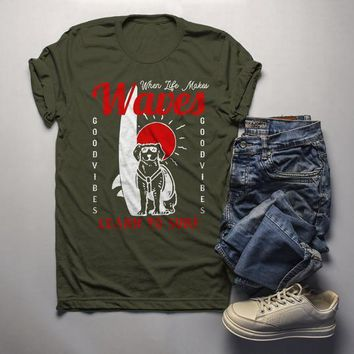 Men's Surfing T Shirt Inspirational Graphic Tee Life Makes Waves TShirt Learn To Surf Shirts