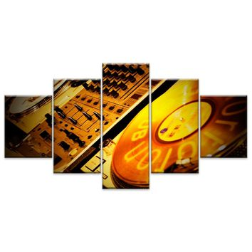 Canvas Painting Wall Art Home Decor For Living Room HD Prints 5 Pieces DJ Music Instrument Modular Poster Ganesha Pictures