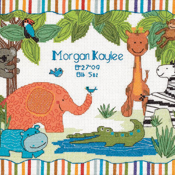 """Baby Hugs Mod Zoo Birth Record Counted Cross Stitch Kit-12""""""""X9"""""""" 14 Count"""