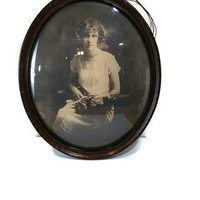 Antique Photo in Large Antique Picture Frame Bubble Glass Vintage Frame Convex Glass Oval Tiger Wood Look 1920s Prop Decor