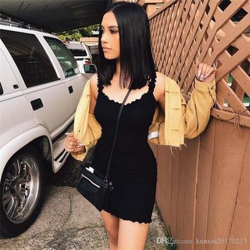 Macheda Ruffles Solid Sling Summer Tight Dresses Sleeveless 2018 New Bodycon Short Dress Solid Color Sexy Party Dress Women