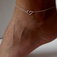Sterling Silver Heart Anklet Delicate jewelry Friendship gift Girlfriend gift Wedding Gifts Shower Gifts