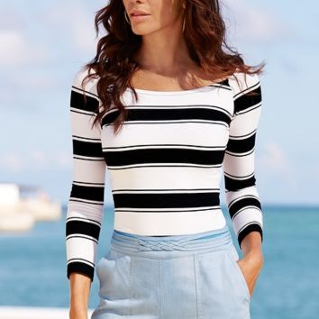 Nine Points Sleeve Striped Tops 10792