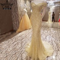 Extreme Luxury Elegant Sexy Tulle Evening Dresses Diamond Sequined Mermaid Evening Gowns 2017 Robe De Soiree Real Photo