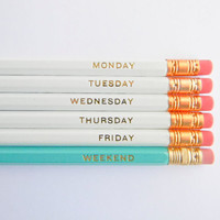 Hello Weekend Pencils - White, Aqua, & Gold, Set of 6