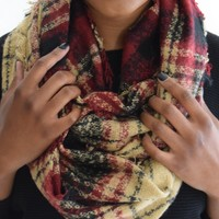 Plaid Infinity Scarf In Beige