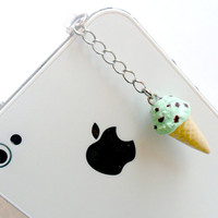 Mint Chocolate Chip Ice Cream Cone Waffle Cone, Phone Charm, Cute And Kawaii :D