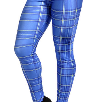 Tartan Blue Plaid Leggings Design 283