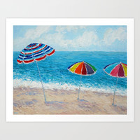 Lazy Days Beach Umbrellas Art Print by Ann Marie Coolick