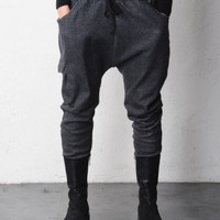 Drop Crotch One Pocket Fleece Sweat Pants
