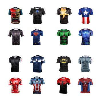 DC 3d t shirt High quality 2018 new superhero batman superman shirt quick dry 3 d fitness compressed dry T-shirt men's style 4XL