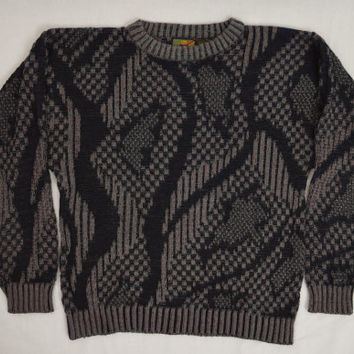 90s Sweater Abstract Geo Knit Jumper Soft Grunge Unisex Men Women Vintage Clothing Size Medium Large Oversize Slouchy 1990s Mens Sweater