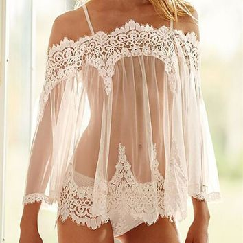 Fashion Off Shoulder Strap Lace Stitching Perspective T-shirt Long Sleeve Tops