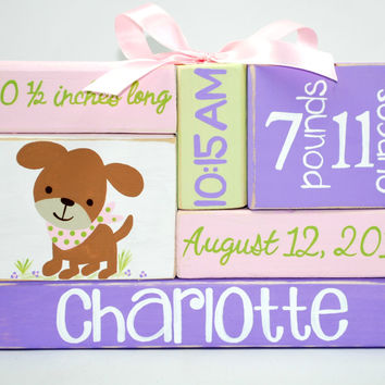 Custom Baby Birth Stats Puppy Nursery WoodenBlock Shelf Sitter Stack