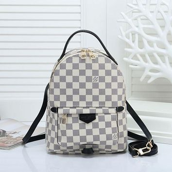 """""""LV"""" Louis Vuitton Simple fashion casual wild plaid straps backpack travel backpack 1#"""
